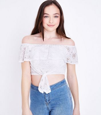 Girls Cream Lace Tie Front Bardot Top