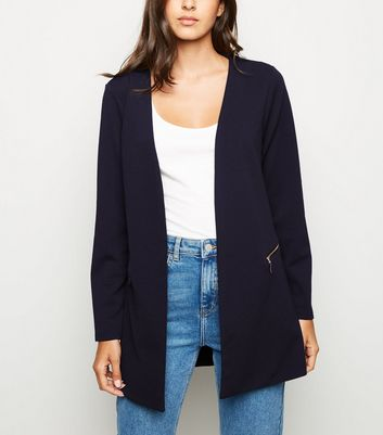 Mela Navy Two Zip Longline Blazer