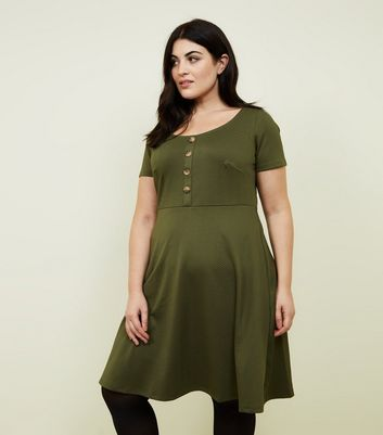 Curves Khaki Textured Skater Dress
