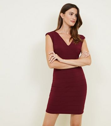 Mela Burgundy V-Neck Bandage Bodycon Dress
