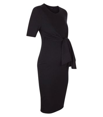 Maternity Black Ribbed Tie Front Midi Dress New Look