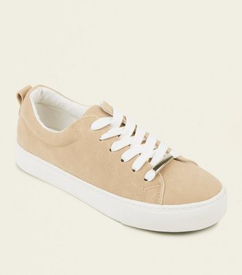 Girls Light Brown Lace-Up Trainers