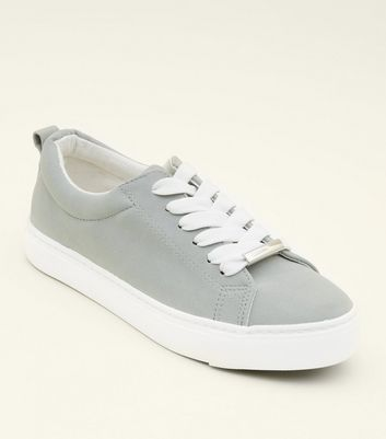 Girls Light Green Lace Up Trainers