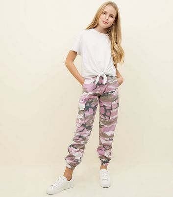 Girls Lilac Camo Utility Trousers