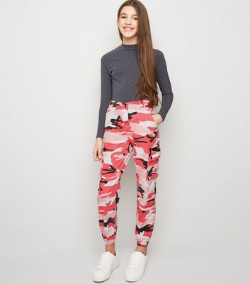 Girls Bright Pink Camo Cargo Trousers