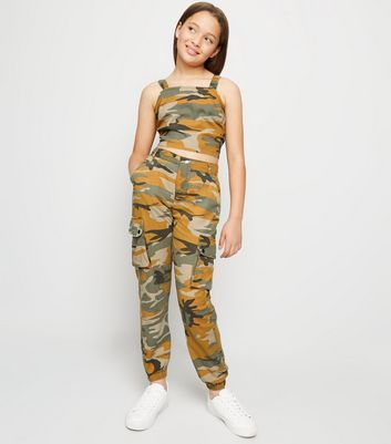 Girls Orange Camo Cargo Trousers