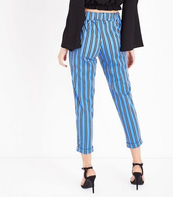 Innocence Bright Blue Stripe Slim Leg Trousers New Look