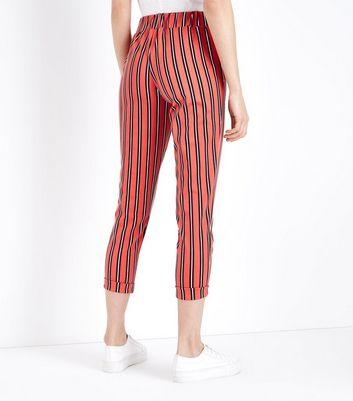 Innocence Red Stripe Slim Leg Trousers New Look