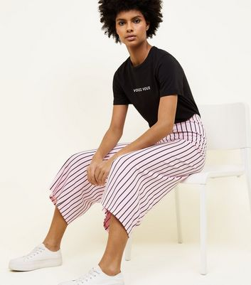 Innocence Pink Stripe Culottes New Look