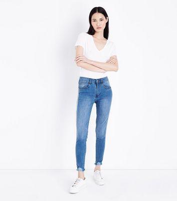 Innocence Blue Stripe Side Frayed Hem Jeans New Look