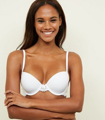 White Lace Trim Low Cup T-Shirt Bra