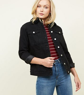 Black Borg Lined Oversized Denim Jacket