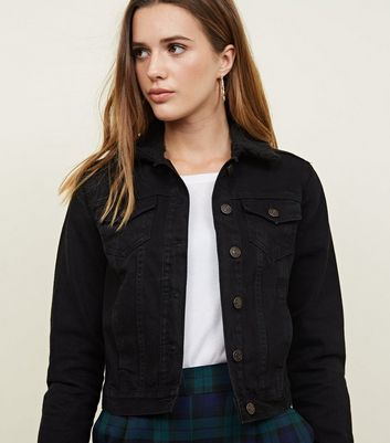 Black Borg Collar Denim Jacket