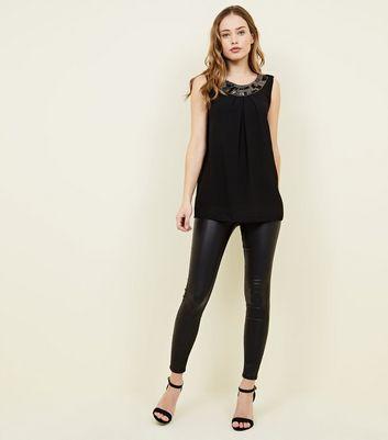 Mela Black Bead Embellished Neckline Top New Look