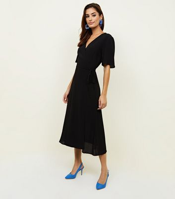 Black Wrap Front Midi Dress