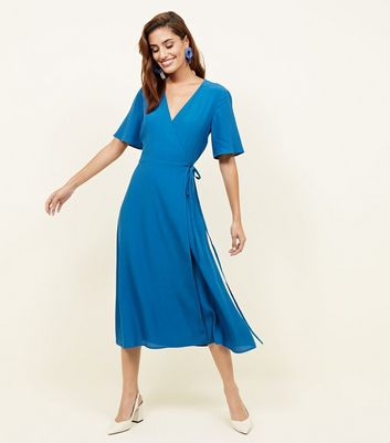 Teal Wrap Front Midi Dress