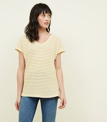 Yellow Stripe Fine Knit V Neck T-Shirt