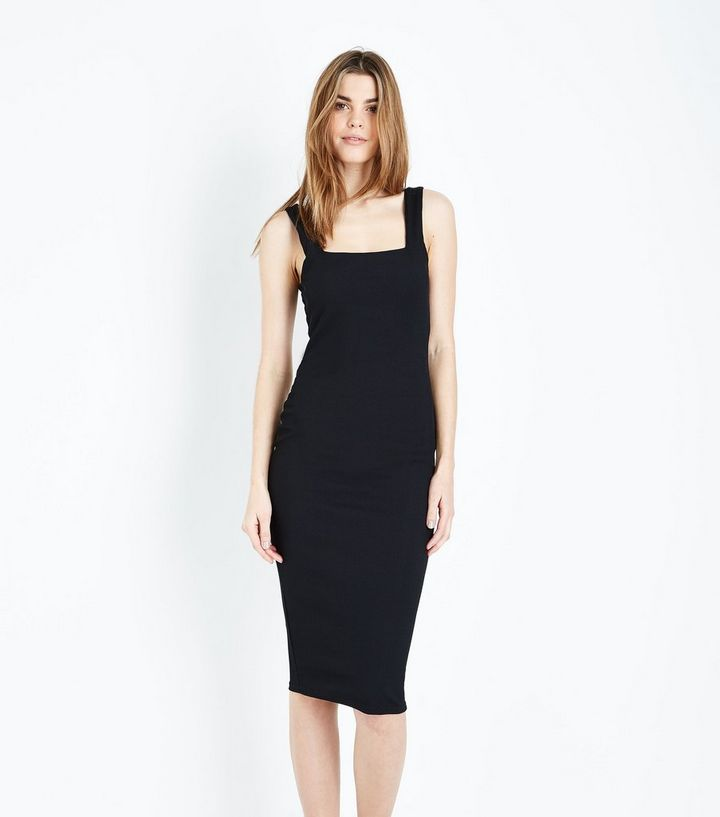 7aee9c6beb2 Black Ribbed Square Neck Midi Dress | New Look
