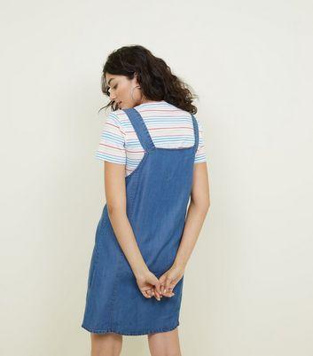 Bright Blue Lightweight Denim Pinafore Dress New Look