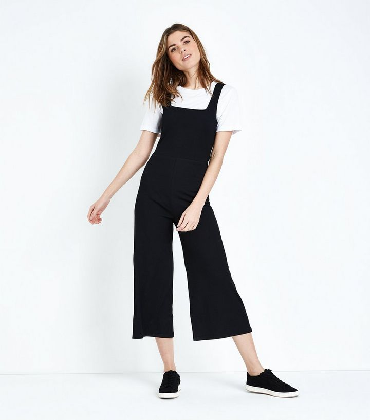 92760614716 Black Ribbed Square Neck Culotte Jumpsuit