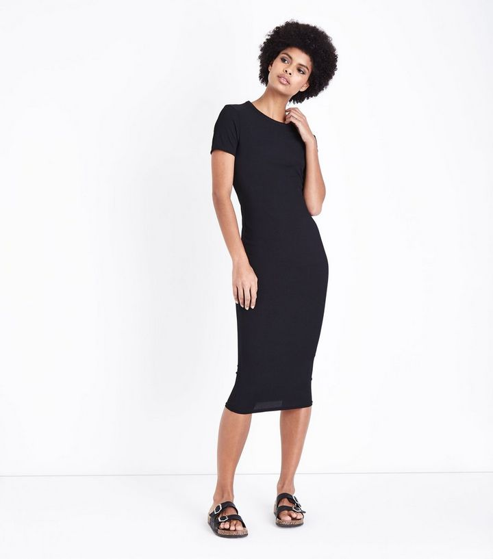 b14e0eedd0ca8 Black Ribbed T-Shirt Midi Dress | New Look