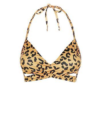 e417e6f2db Gold Leopard Print Wrap Front Bikini Top | New Look