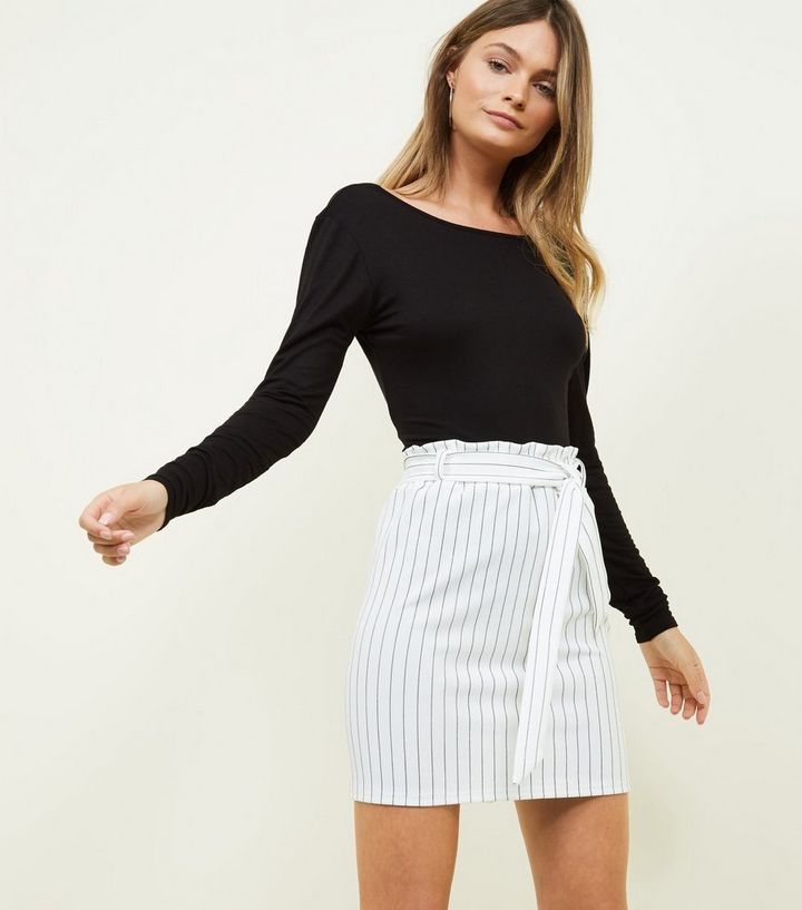 87525329fe White Stripe Paperbag Waist Mini Skirt | New Look