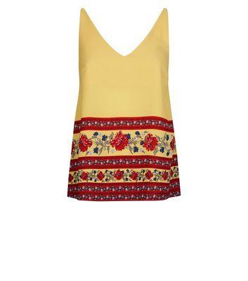Mustard Floral Border Print Cami New Look