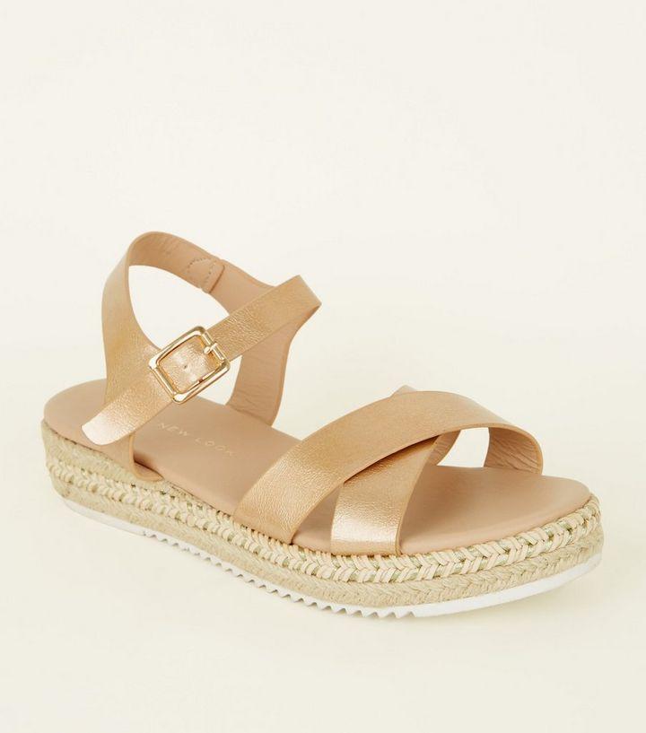 28b7fe65a49 Girls Rose Gold Espadrille Flatform Sandals
