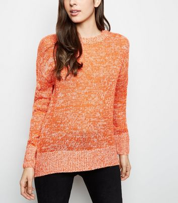 Orange Marl Longline Jumper