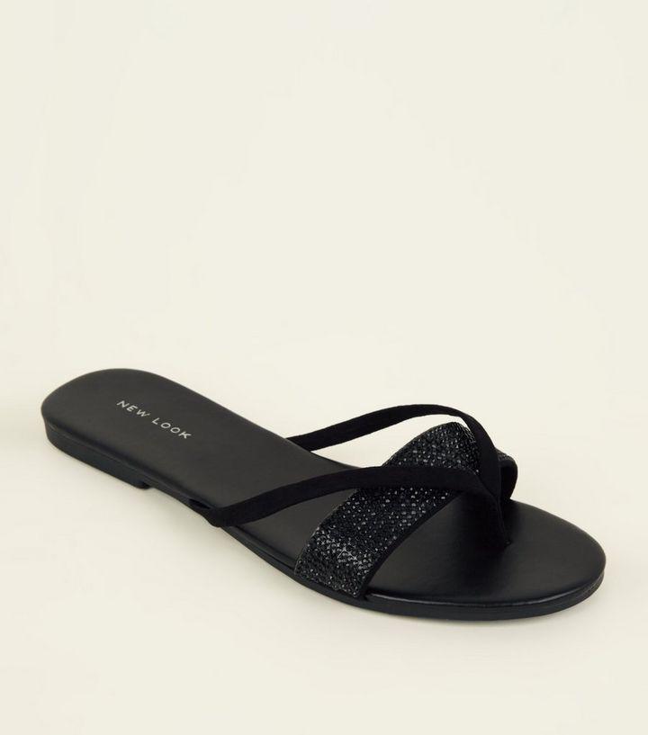 a903f6145 Black Diamanté Strap Flip Flops