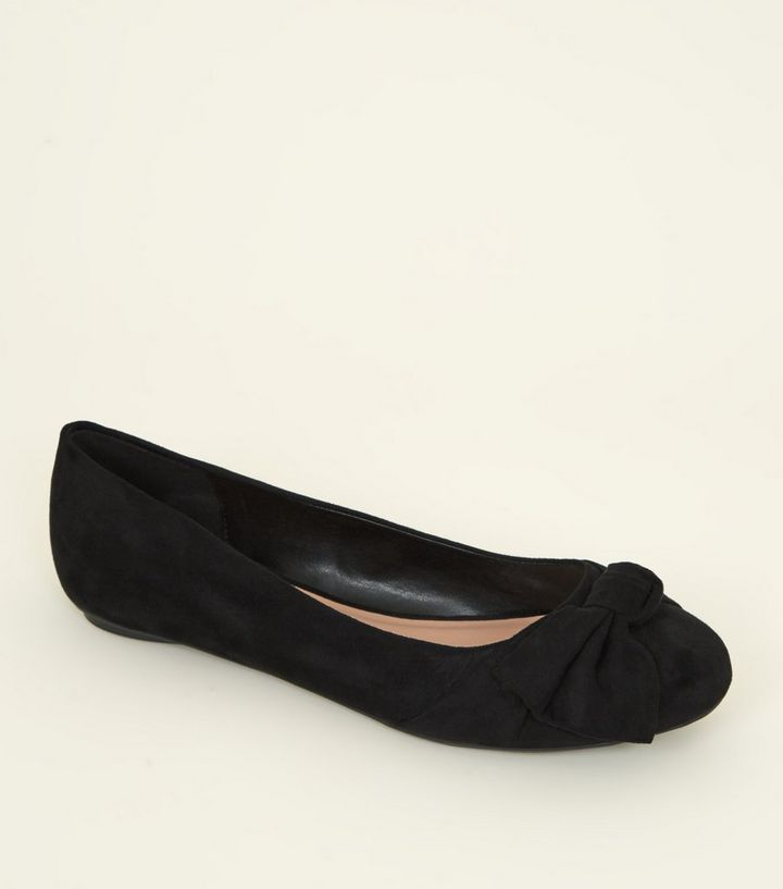 076c8e35af Extra Wide Fit Black Suedette Bow Ballet Pumps | New Look