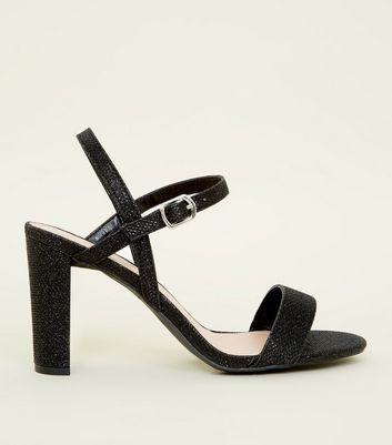 Wide Fit Black Glitter Block Heel Sandals