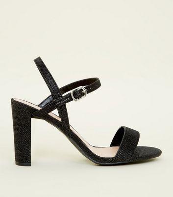 Wide Fit Black Glitter Block Heel
