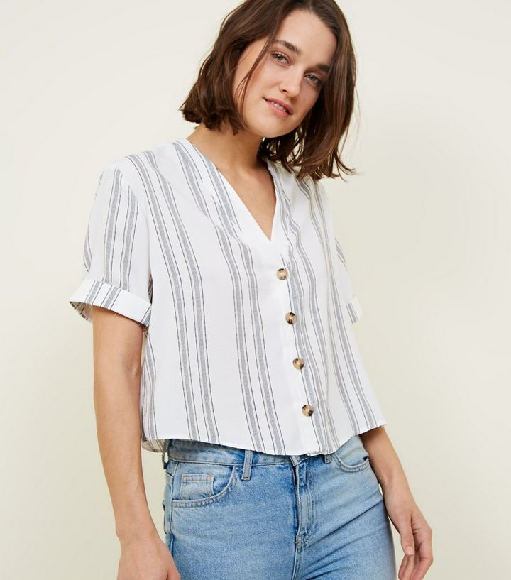 8b4794ad5d98dd White Stripe Button Front Shirt | New Look