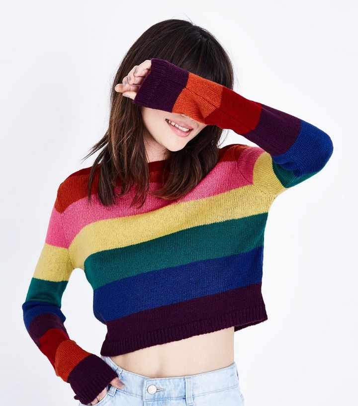 38cce11193e Rainbow Stripe Cropped Jumper Add to Saved Items Remove from Saved Items