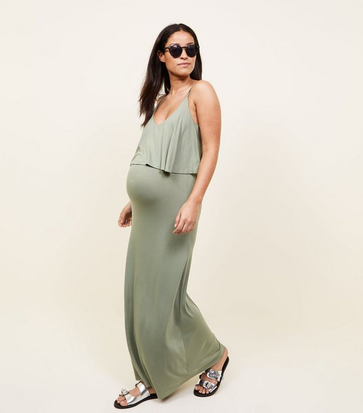 fb8e41a733144 Maternity Khaki Layered Jersey Maxi Dress   New Look