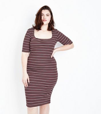 Curves Black Stripe Bodycon Dress
