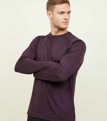 Dark Purple Long Sleeve Sports T-Shirt