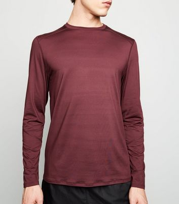 Burgundy Long Sleeve Sports T-Shirt