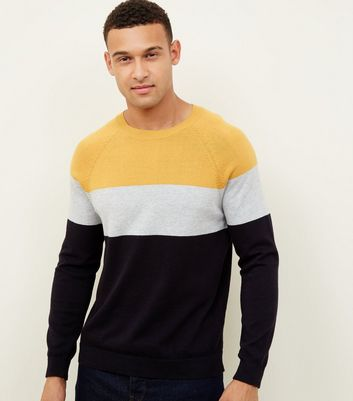Mustard Colour Block Crew Neck Jumper