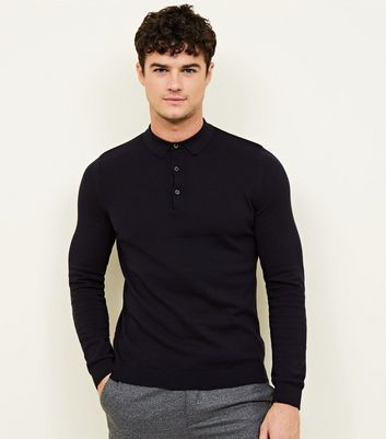 Navy Muscle Fit Long Sleeve Knitted Polo Shirt