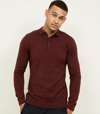 Burgundy Muscle Fit Long Sleeve Knitted Polo Shirt