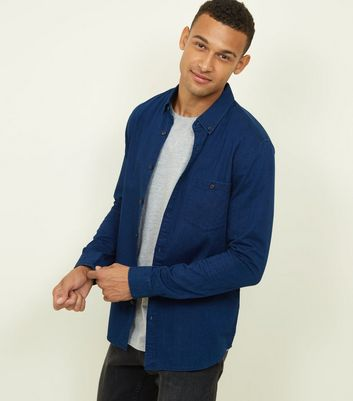 Bright Blue Washed Denim Shirt