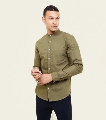 Khaki Grandad Collar Oxford Shirt
