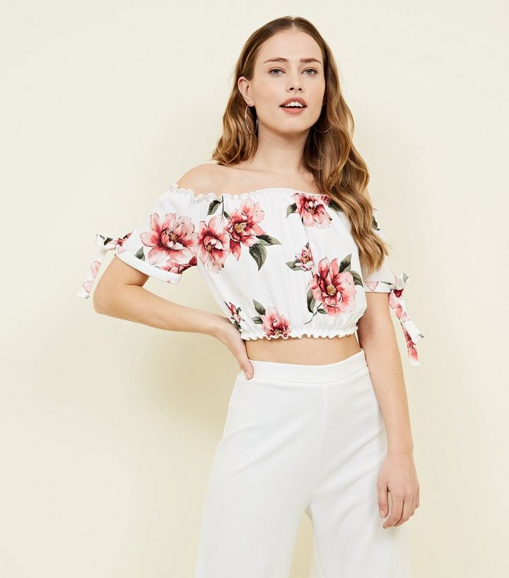 White Floral Frill Trim Bardot Crop Top New Look