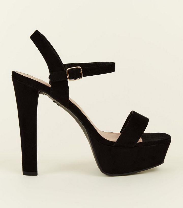 44ba33001289 Wide Fit Black Suedette Block Heel Platform Sandals