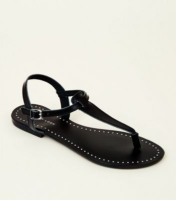 Black Leather Studded Flat Sandals
