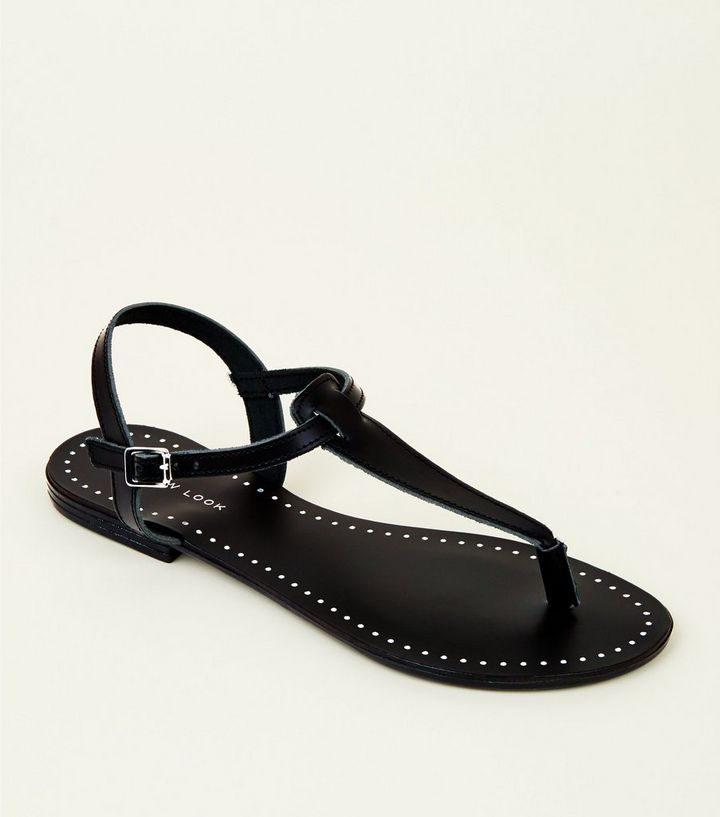 esploratore Precedente Rifiutare  Black Leather Studded Flat Sandals | New Look