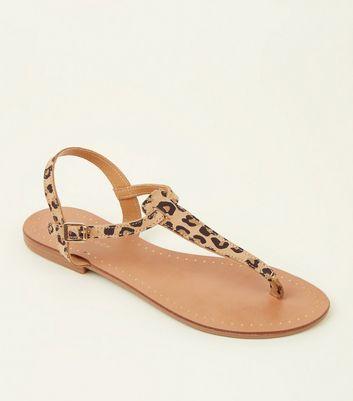 Stone Suede Leopard Print Flat Sandals
